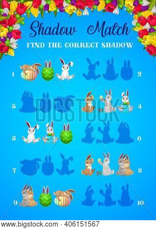 Shadow Matching Easter Game Of Vector Kids Education Activities. Logic Puzzle, Riddle Or Quiz With T