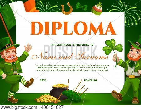 Education Kids School Diploma Vector Template For St Patricks Day Event With Leprechauns, Pot Of Gol