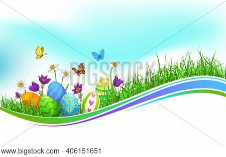 Easter Eggs Green Grass Wave, Isolated Vector Cartoon Easter Holidays Hunt, Wavy Border With Spring