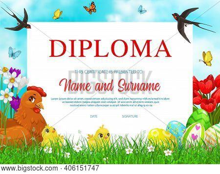 Education School Diploma With Vector Easter Eggs, Chicken With Chicks And Flowers On Green Spring Me