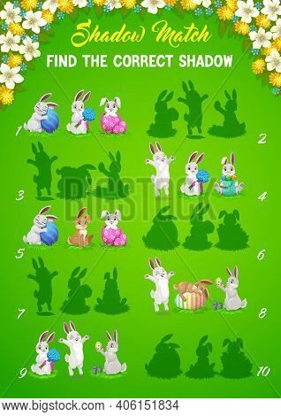 Easter Bunny Shadows Matching Vector Kids Game Or Puzzle Of Children Education Design. Memory Game,