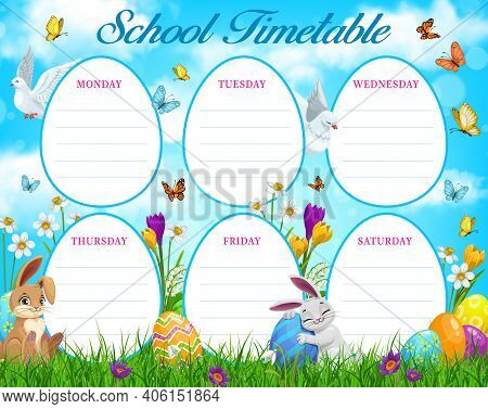 Easter Egg Hunt School Timetable Or Education Schedule Vector Template. Weekly Study Plan, Student L
