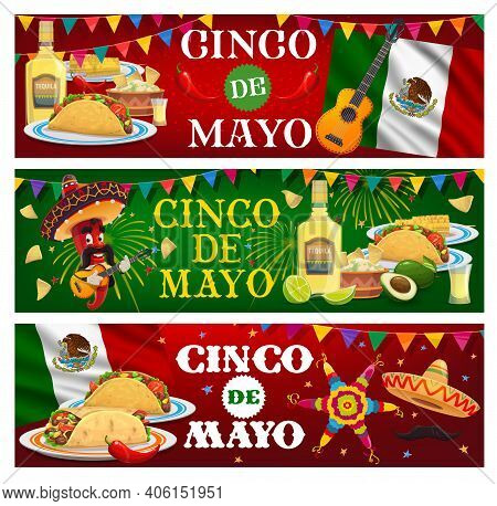 Cinco De Mayo Vector Banners. Mariachi Jalapeno Chili Pepper In Sombrero Playing Guitar. Mexican Foo