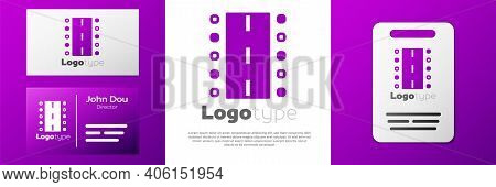 Logotype Airport Runway For Taking Off And Landing Aircrafts Icon Isolated On White Background. Logo