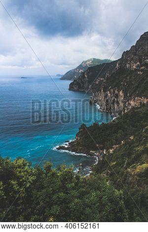 View From The Amalfi Coast, A Popular Tourist Destination And A Stretch Of Coastline In Tyrrhenian S