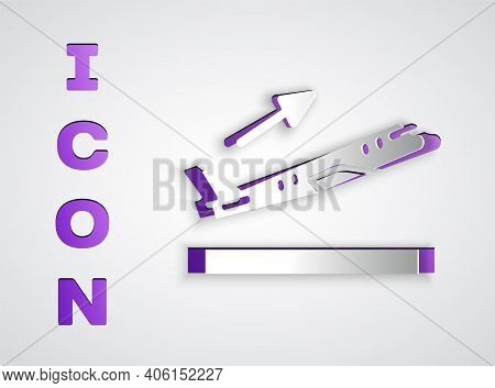 Paper Cut Plane Takeoff Icon Isolated On Grey Background. Airplane Transport Symbol. Paper Art Style