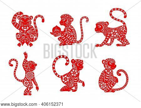 Chinese Zodiac Monkey Animal Vector Icons Set. Ape Lunar New Year Of China Symbolic, Red Ornate , As