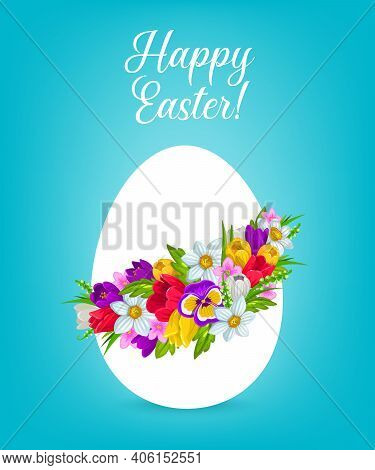 Easter Egg With Flower Wreath Vector Greeting Card. Easter Egg, Decorated With Spring Flowers And Gr