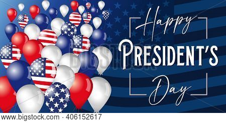 Happy President's Day Poster With Flying In The Sky Balloons On Flag Background. Vector Illustration