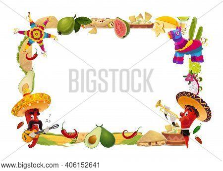 Cinco De Mayo Vector Frame, Mexican Holiday. Festive Border With Jalapenos In Sombrero Play Guitar A