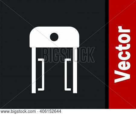 White Metal Detector In Airport Icon Isolated On Black Background. Airport Security Guard On Metal D