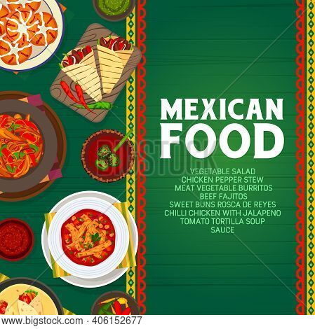 Mexican Food Vector Sweet Buns Rosca De Reyes, Meat Vegetable Burritos And Tomato Tortilla Soup. Bee