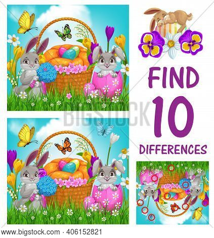 Kids Game Of Find Ten Differences Vector Template With Easter Eggs And Bunnies. Logic Game, Puzzle O