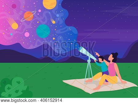 Family Stargazing With Telescope Flat Color Vector Illustration. Mother Shows Her Children New Plane