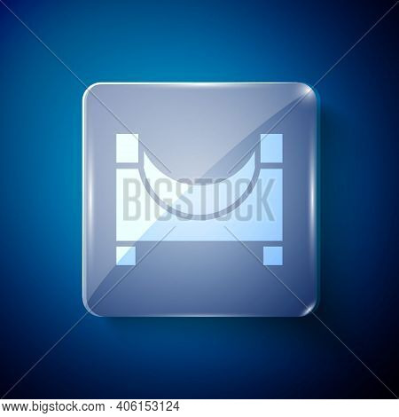 White Skate Park Icon Isolated On Blue Background. Set Of Ramp, Roller, Stairs For A Skatepark. Extr