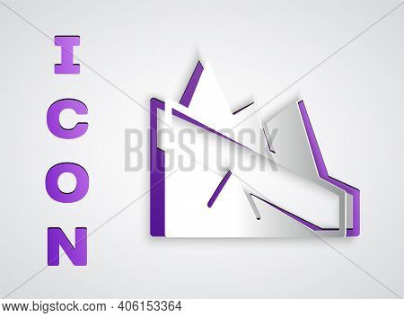 Paper Cut Mountain Descent Icon Isolated On Grey Background. Symbol Of Victory Or Success Concept. P