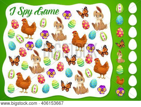 I Spy Easter Kids Game Or Puzzle Vector Template. Children Education Worksheet Of I Spy Game With Fi