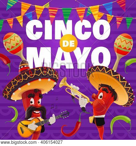 Cinco De Mayo Vector Poster. Mariachi Band, Jalapenos Chili Peppers In Mexican Sombrero Playing Trum