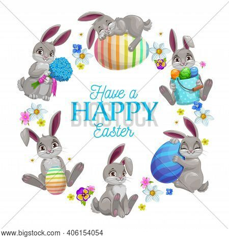 Easter Eggs And Bunnies Vector Frame Of Easter Egg Hunt. Cartoon Bunny, Rabbit Or Hare Animals With