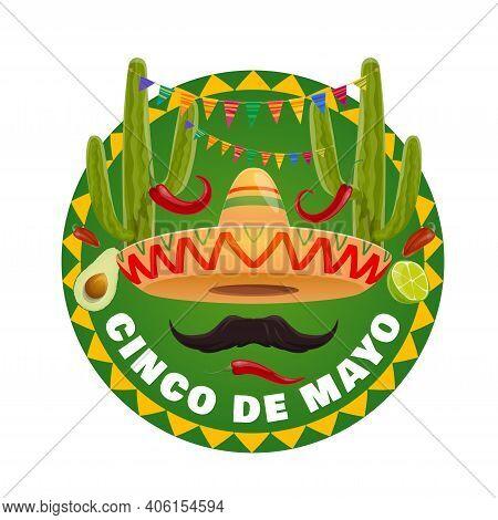 Mexican Sombrero Vector Design Of Cinco De Mayo Holiday. Fiesta Party Mariachi Hat, Moustache And Re