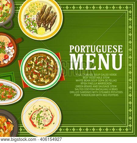 Portuguese Restaurant Food Menu Banner. Pork Tenderloin, Grilled Sardines And Bacalhau A Bras Cod, S