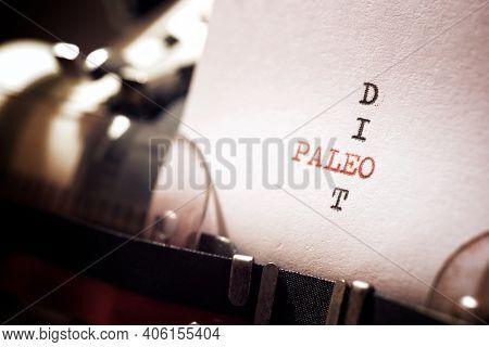 Paleo diet phrase written with a typewriter.
