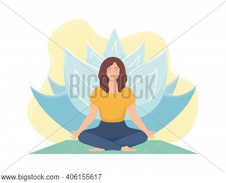Woman Meditating In Nature. Concept For Girl Yoga, Meditation, Relax, Recreation. Healthy Woman Yoga