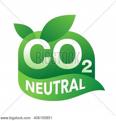 Co2 Neutral Badge, Net Zero Carbon Footprint - Carbon Emissions Free No Air Atmosphere Pollution Ind