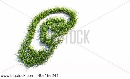 Concept or conceptual green summer lawn grass isolated on white background, sign of an ear.  A 3d illustration metaphor for hearing loss, tinnitus, vertigo, ear pain or infection, auditory testing
