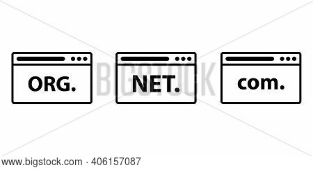 Domain Names In Browser. Web Icon Illustration