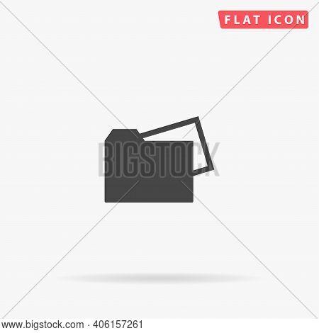 Document Folder Flat Vector Icon. Hand Drawn Style Design Illustrations.