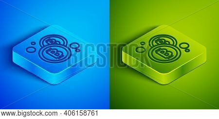Isometric Line Cryptocurrency Coin Bitcoin Icon Isolated On Blue And Green Background. Physical Bit