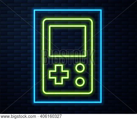 Glowing Neon Line Portable Tetris Electronic Game Icon Isolated On Brick Wall Background. Vintage St