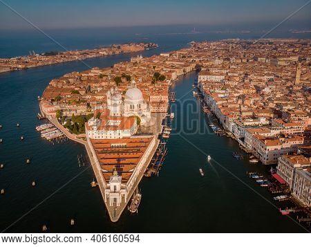Grand Canal And Basilica Santa Maria Della Salute, Venice, Italy. Drone Aerial View Venice Italy
