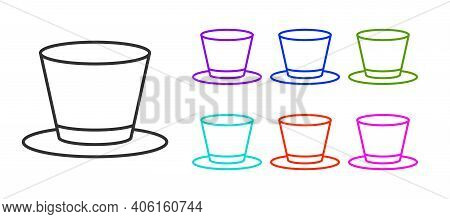 Black Line Cylinder Hat Icon Isolated On White Background. Set Icons Colorful. Vector