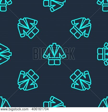 Green Line Bathrobe Icon Isolated Seamless Pattern On Blue Background. Vector