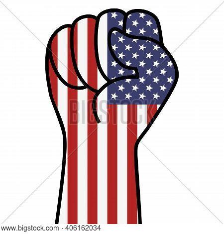 Raised Usa Flag Fist. Fist Shape American Flag Color. Stars Stripes American Hand. Patriotic Demonst