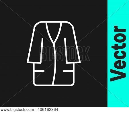 White Line Bathrobe Icon Isolated On Black Background. Vector