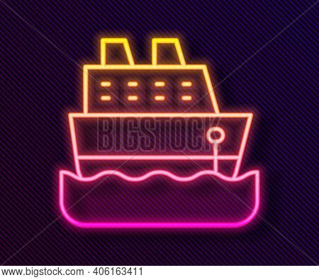 Glowing Neon Line Cruise Ship Icon Isolated On Black Background. Travel Tourism Nautical Transport.