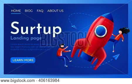 People Fly Around Launching Rocket. Startup, Project Launch Or Innovation Concept. Landing Page Webs