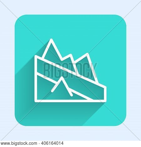 White Line Mountain Descent Icon Isolated With Long Shadow. Symbol Of Victory Or Success Concept. Gr