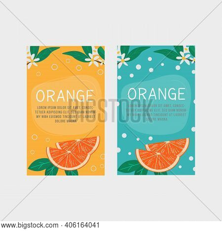 Set Of Vertical Banner, Label Templates For Orange Fruit Juice, Aromatherapy Or Citric Product With
