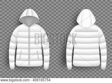 White Puffer Jacket Mockup Set, Vector Isolated Illustration. Realistic Modern Hooded Down Jacket, F