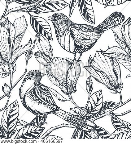 Black And White Vector Floral Seamless Pattern Of Magnolia Flowers, Branches And Birds.