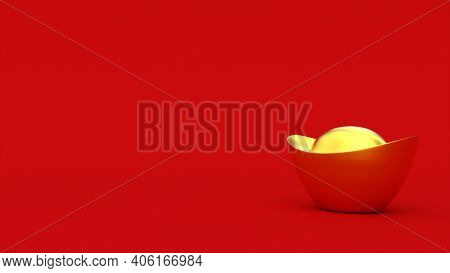 3d Chinese Golden Ingot. Red Color Background. Happy Chinese New Year. 3d Rendering Illustration.