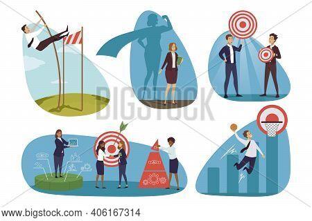 Targeting, Business, Goal Achiemevement Set Concept. Businesspeople Men Women Clerk Managers Moving