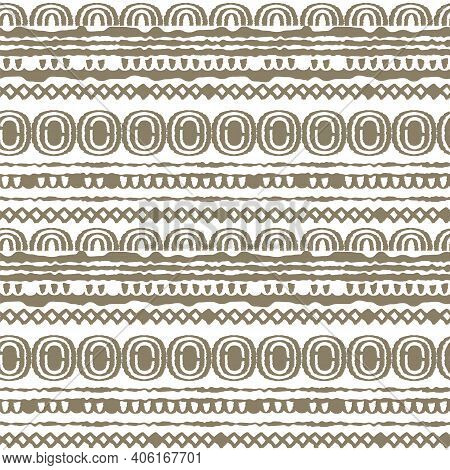 Brown White Abstract Seamless Pastel Repeat Endless Pattern. Ovals, Semicircles, Rainbows, Lines, Do