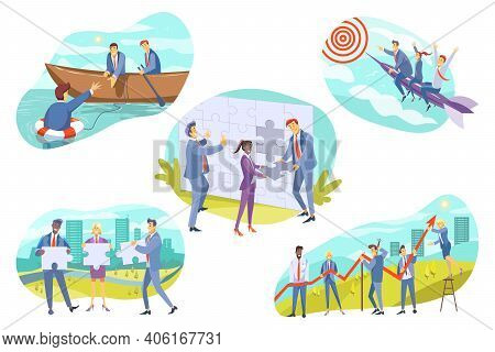 Business, Teamwork, Cooperation Set Concept. Collection Of Teams Of Businesspeople Men Women Manager