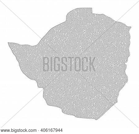 Polygonal Mesh Map Of Zimbabwe In High Detail Resolution. Mesh Lines, Triangles And Points Form Map