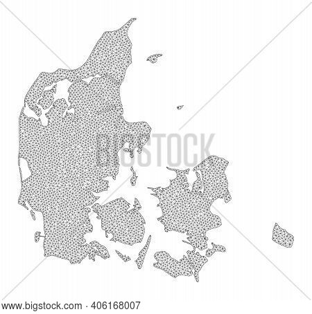 Polygonal Mesh Map Of Denmark In High Resolution. Mesh Lines, Triangles And Dots Form Map Of Denmark